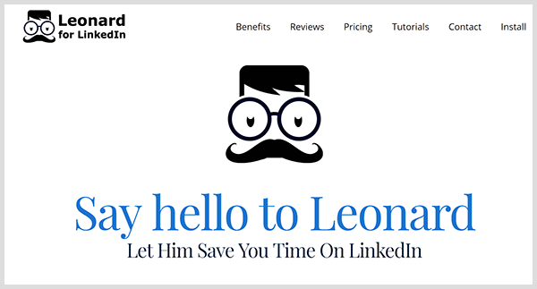 LinkedIn third-party tool Meet Leonard shows logo of man with glasses and mustache on the website's home page.
