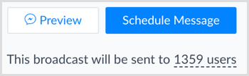 Click the blue Schedule Message button in ManyChat.