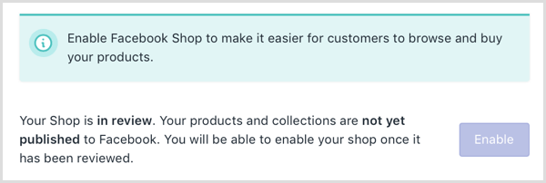 Shopify shows an online message that your Facebook shop is under review.