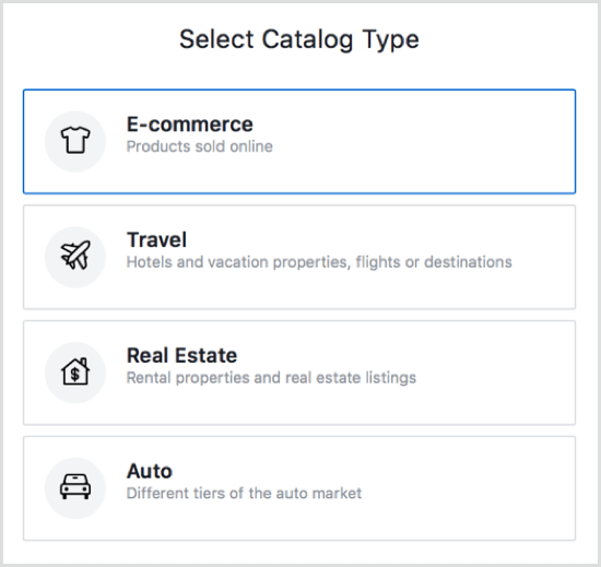 Select a catalog type in Shopify.