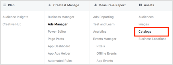 Click the Catalogs link in the Assets column in Facebook Ads Manager.