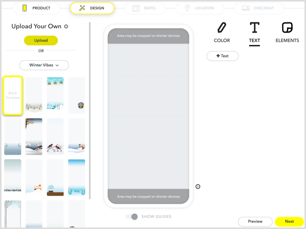 To design your filter, upload your artwork or create artwork using Snapchat's tools.