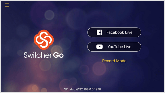 Switcher Go screen where you can connect your Facebook and YouTube accounts