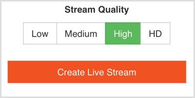 Choose the live stream quality in Switcher Go.