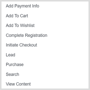 Facebook ad custom conversion options include add payment info, add to cart, add to wishlist, complete registration, initiate checkout, lead, purchase, search, view content.