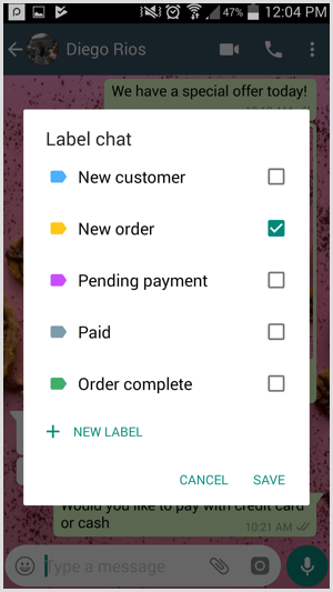 Create custom labels in WhatsApp Business.