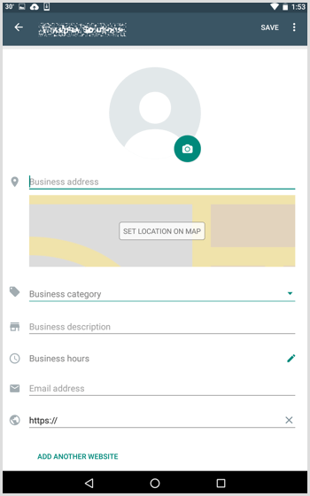 Fill in the details you want to include in your WhatsApp Business profile.