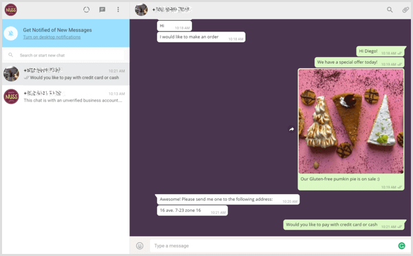 Manage business conversations using WhatsApp Web.
