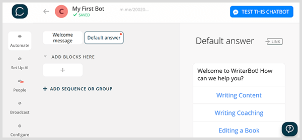 The Chatfuel interface lets you drag and drop to create a Messenger bot.