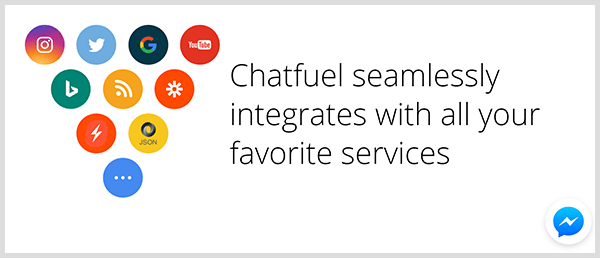 Chatfuel integrates with popular services.