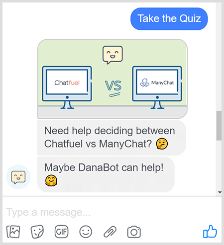 DanaBot offers a quiz to help users choose the right product.