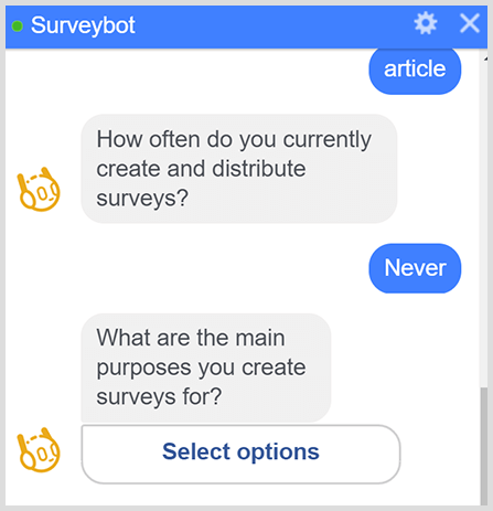 A messenger bot asks a series of survey questions.