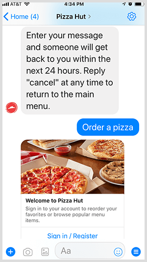 Pizza Hut automates pizza ordering via Messenger bot.