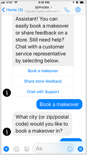 With a Messenger bot, Sephora qualifies leads for makeover appointments.