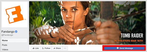 The Messenger button on the Fandango Facebook page allows you to chat with its Messenger bot.