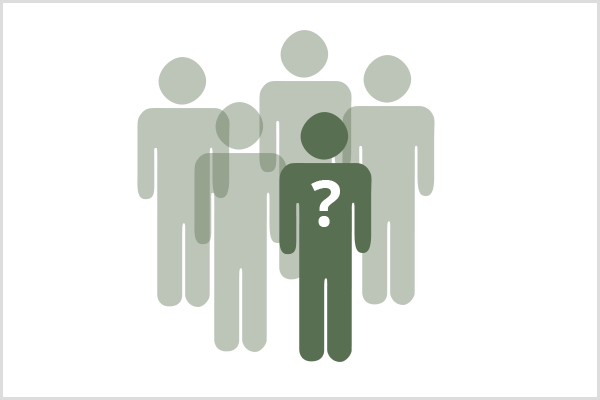A Facebook group needs to appeal to a niche audience. In a group of five person symbols, four are light green and translucent and one is dark green with a white question mark on the chest.