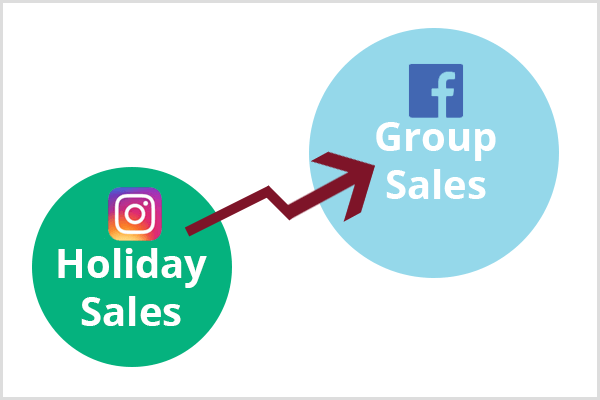 A smaller green circle with the Instagram logo and the text Holiday Sales appears in the lower-left corner. A maroon arrow connects the green circle to a larger blue circle with the Facebook logo and the text Group Sales.