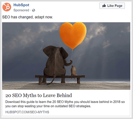 Branding ads share helpful content like this HubSpot ad about 20 SEO myths to leave behind.