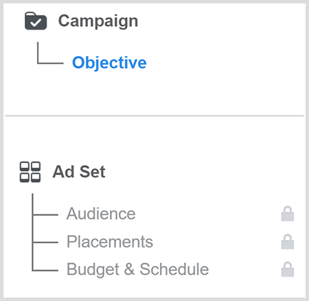 Create a Facebook ad campaign objective and then target an audience.