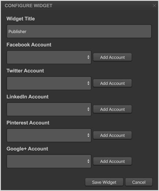 Cyfe configure Publisher widget