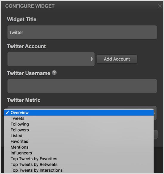 Cyfe configure Twitter widget