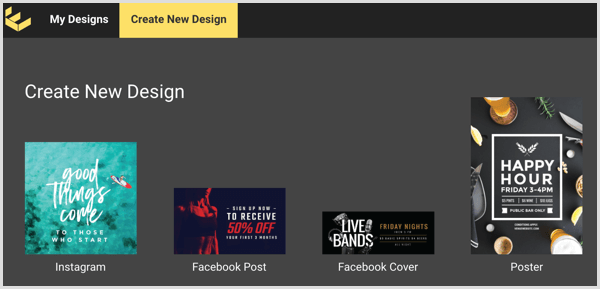 Κάνε click στο Create New Design tab του Easil.