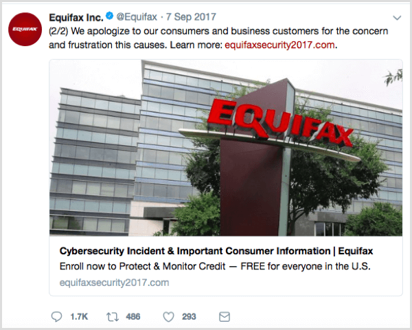 Equifax social post with correct URL,