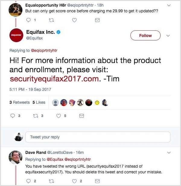 Equifax social post with incorrect URL.