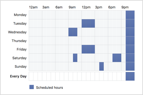 Click on the schedule to choose when your Facebook ad will run.