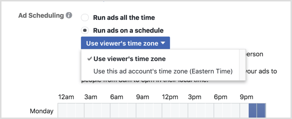 Choose the Use Viewer's Time Zone option for your Facebook campaign.
