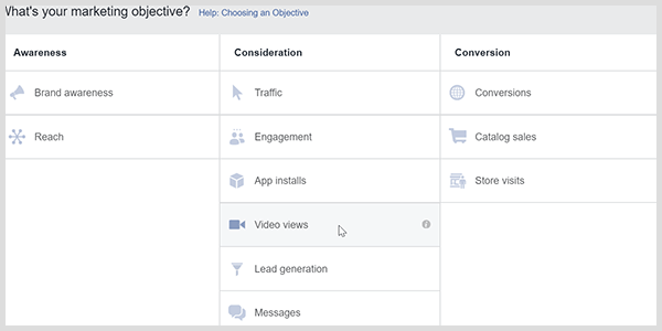 Facebook Ads Manager has a video views objective that prompts Facebook to target people who watch videos.