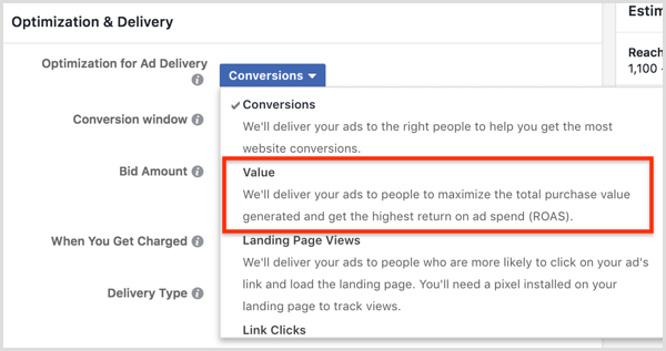 Select the Value option from the Optimization for Ad Delivery drop-down list.