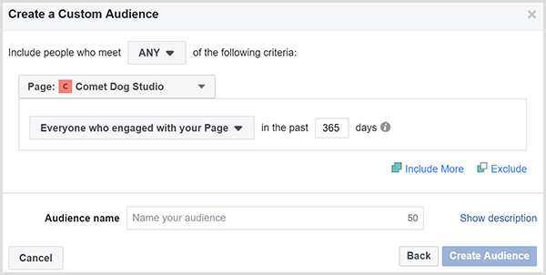 The Facebook Create a Custom Audience dialog box allows you to target ads to people who engaged with your website within a certain timeframe.