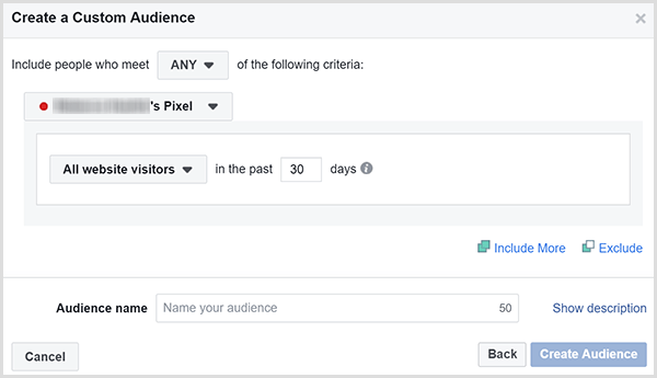 The Facebook Create a Custom Audience dialog box has an option for targeting ads to all website visitors within a certain number of days.