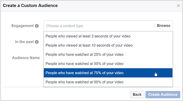 The Facebook Create a Custom Audience dialog box has options for targeting ads to people who watched a certain percentage of your video.