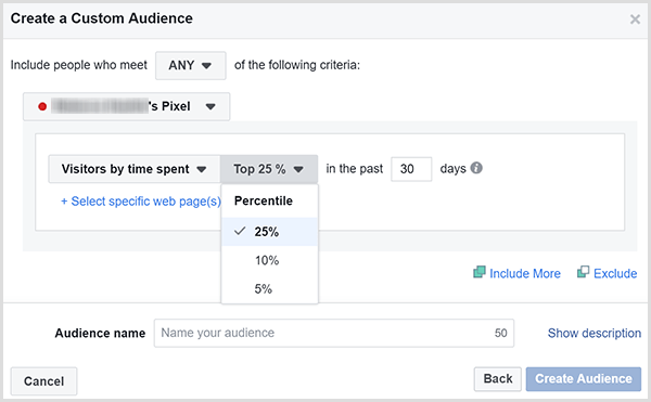 The Facebook Create a Custom Audience dialog box has options for targeting ads to the customers who spent the most amount of time on your website.