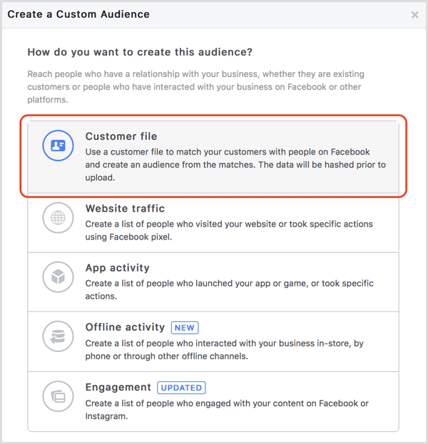 Facebook create custom audience from email list