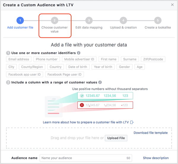 Facebook create custom audience with LTV
