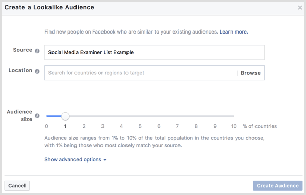 Facebook create lookalike audience