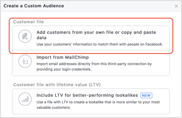 Facebook custom audience add customers from file