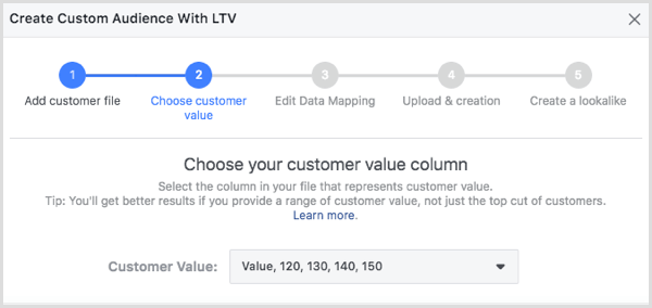 Choose your customer value column in the Create Customer Audience With LTV dialog box.