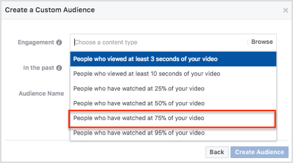 Select People Who Have Watched 75% of Your Video in the Create a Custom Audience dialog box.