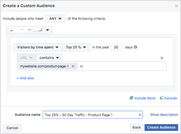 Select Visitors by Time Spent in the Create a Custom Audience dialog box.