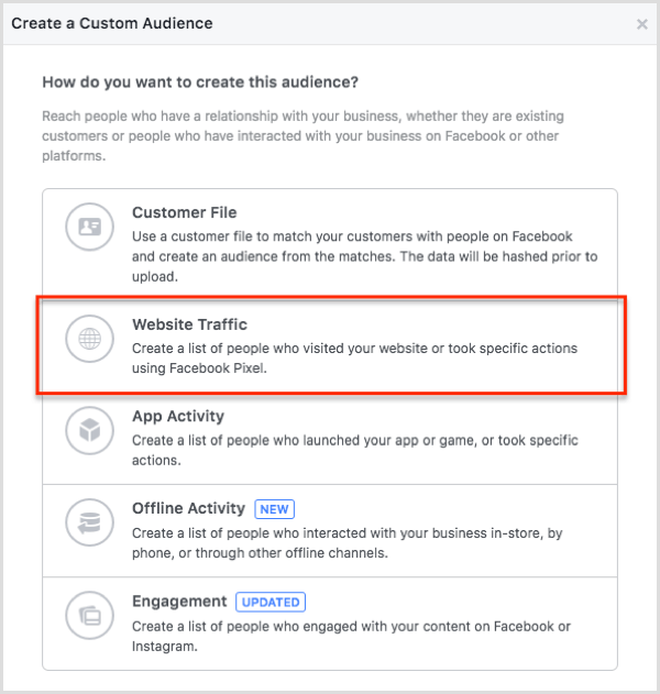 Create your Facebook custom audience from website traffic.