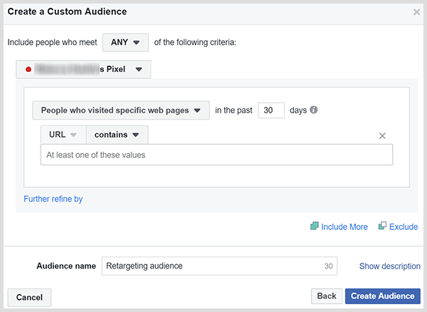 Facebook custom audiences can retarget people who visited your sales or product page.