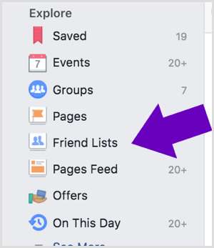 Click the Facebook Friend Lists option.