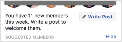 Write a post to welcome new members to your Facebook group.