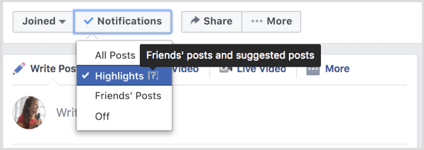 Manage Facebook group notifications.