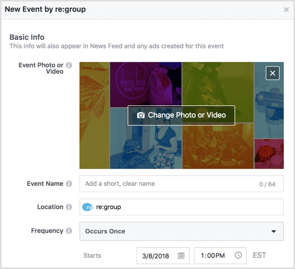 Fill in the details for your Facebook event.