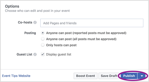 When you're finished creating your Facebook event, click Publish.